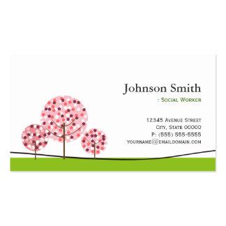 Asistente social - logotipo rosado lindo del árbol tarjeta de visita