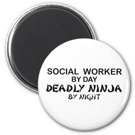 Asistente social Ninja mortal Imán Redondo 5 Cm