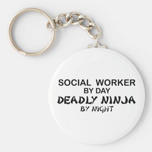 Asistente social Ninja mortal Llavero Redondo Tipo Pin