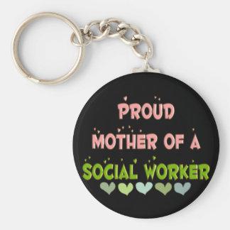 ASISTENTE SOCIAL orgulloso de la madre Llavero Redondo Tipo Pin