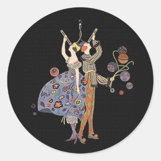 Asistentes del fiesta del art déco del vintage pegatinas redondas
