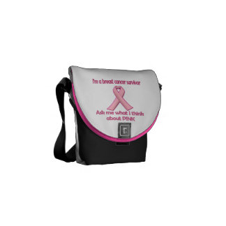 Ask a breast cancer survivor about pink! courier bag