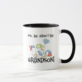 Ask About My Grandson Tshirts and Gifts Mug