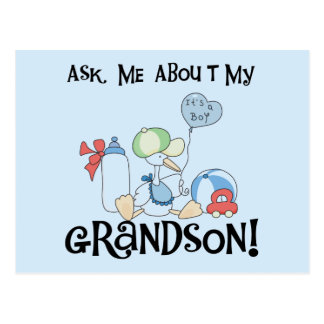 Ask About My Grandson Tshirts and Gifts Postcard