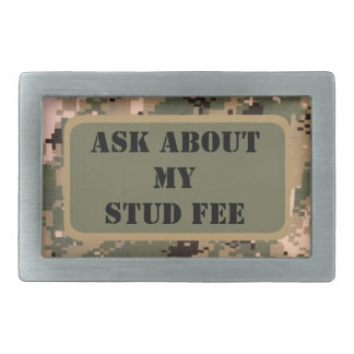 """Ask about my stud fee"" - Black with Camouflage Belt Buckle"