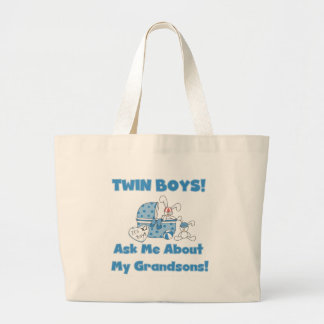 Ask About My Twin Grandsons Large Tote Bag