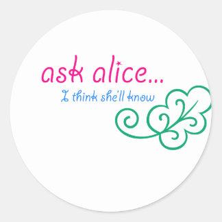 Ask Alice Classic Round Sticker