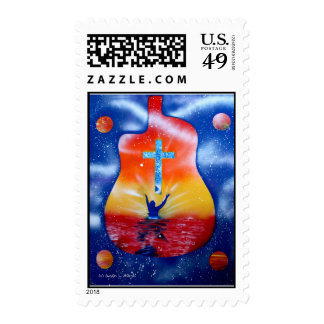 Ask and ya shall receive- man cross guitar postage stamps