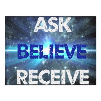 Ask Believe Receive Powerful Purpose Postcard