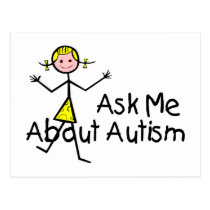 Ask Me About Autism (Girl 2) Postcard