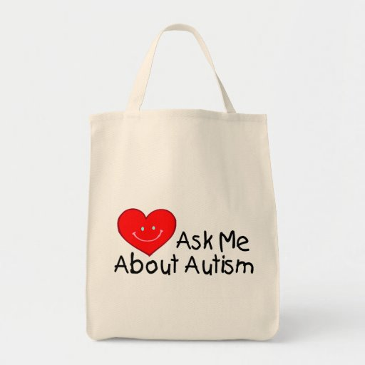 Ask Me About Autism (Heart) Bags