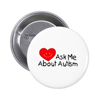 Ask Me About Autism (Heart) 2 Inch Round Button