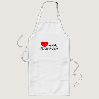 Ask Me About Autism (Heart) Long Apron