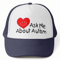 Ask Me About Autism (Heart) Trucker Hat