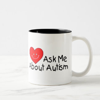 Ask Me About Autism (Heart) Two-Tone Coffee Mug