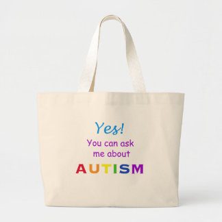 Ask Me About Autism Large Tote Bag