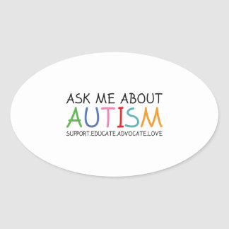 Ask Me About Autism Oval Sticker