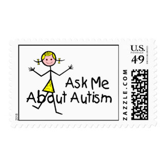 Ask Me About Autism Postage Stamp