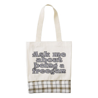 Ask me about being a freegan zazzle HEART tote bag