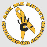 Ask Me About Childhood Cancer Round Stickers