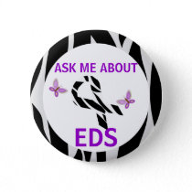 Ask Me About Ehlers-Danlos EDS Awareness Ribbon Button