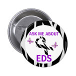 Ask Me About Ehlers-Danlos EDS Awareness Ribbon Pinback Buttons