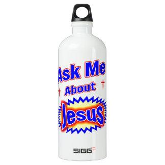Ask Me About Jesus Aluminum Water Bottle