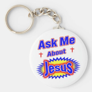 Ask Me About Jesus Basic Round Button Keychain