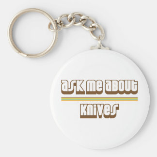 Ask Me About Knives Basic Round Button Keychain