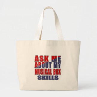 ASK ME ABOUT MUSICAL BOX MUSIC LARGE TOTE BAG