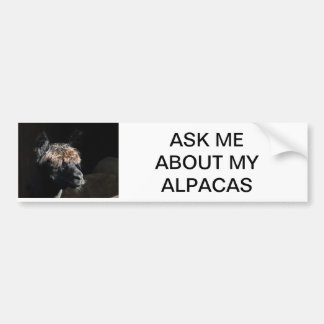 ASK ME ABOUT MY ALPACAS CAR BUMPER STICKER