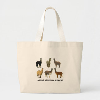 Ask me about my alpacas large tote bag
