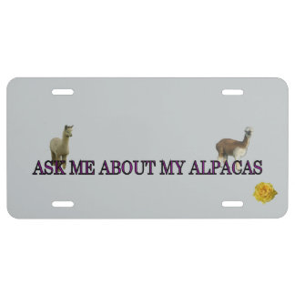 Ask Me About My Alpacas License Plate