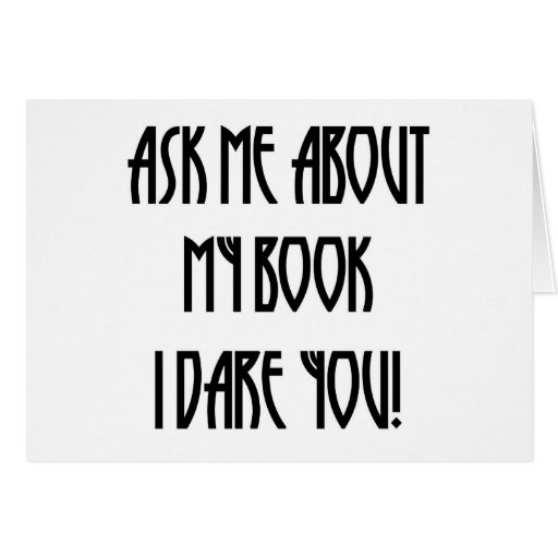 ask me about my book t-shirt card