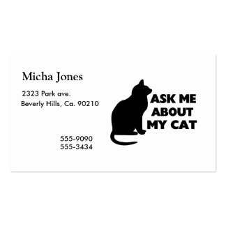 Ask Me About My Cat Double-Sided Standard Business Cards (Pack Of 100)