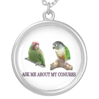 Ask Me About My Conures Round Pendant Necklace