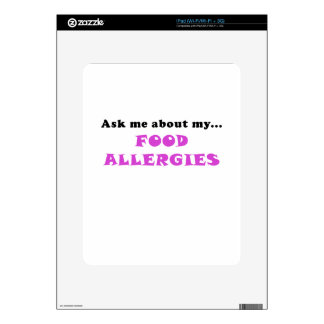 Ask Me About My Food Allergies Decal For iPad
