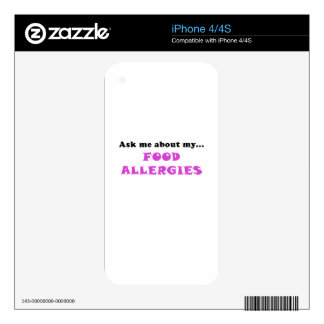Ask Me About My Food Allergies iPhone 4 Decal