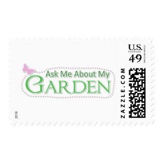 Ask Me About My Garden Postage Stamp