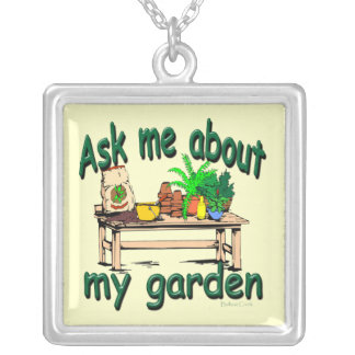 Ask Me About My Garden Square Pendant Necklace
