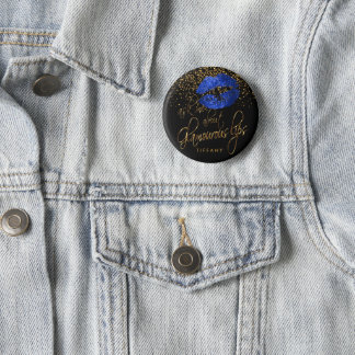 Ask Me About my Glamorous Lips - Blue Pinback Button