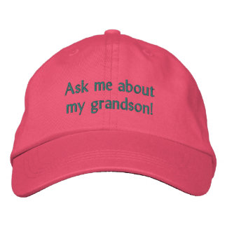 Ask me about my grandson! Hat Embroidered Baseball Caps
