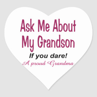 Ask me about my grandson heart sticker