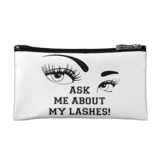 ASK ME ABOUT MY LASHES MAKE-UP BAG COSMETIC BAGS