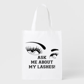Ask Me About my Lashes - reusable bag Market Totes