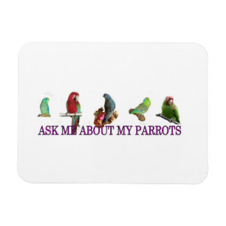 Ask Me About My Parrots Rectangle Magnets