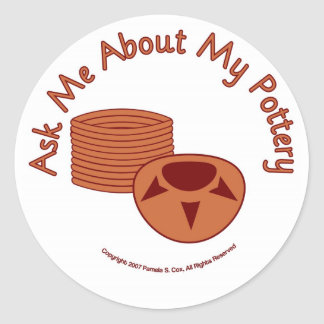 Ask Me About My Pottery Classic Round Sticker