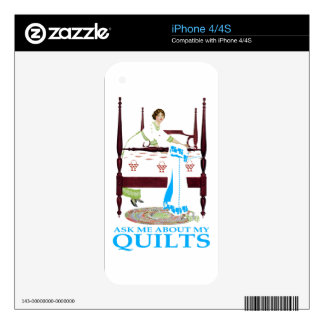 Ask Me About My Quilts Decals For The iPhone 4S