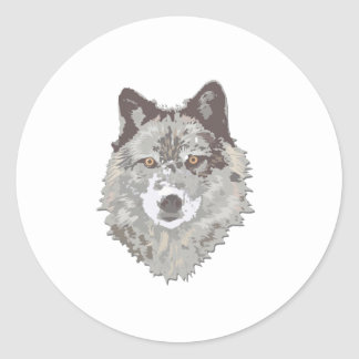 Ask Me About my Wolf Classic Round Sticker