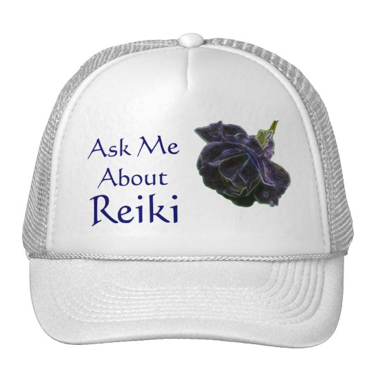 Ask Me About Reiki Purple Rose Hat